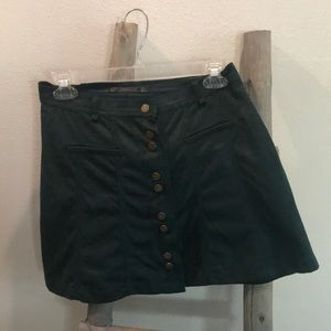 Green suede mini skirt